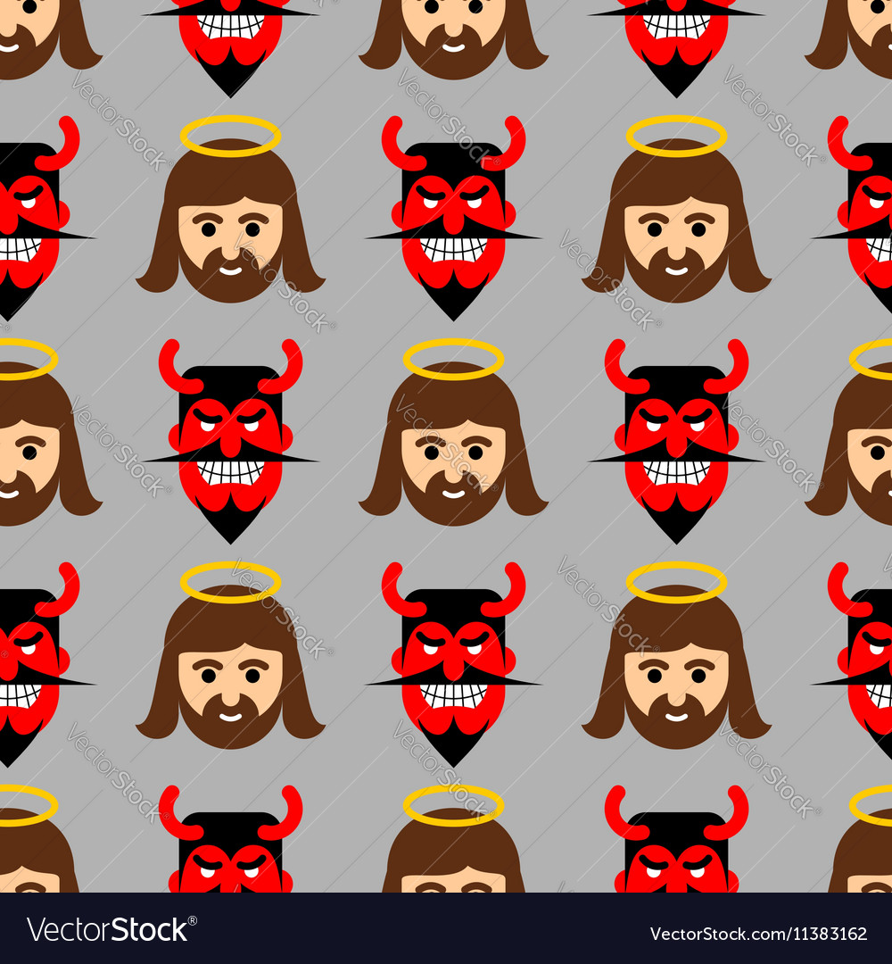 Jesus and Satan seamless pattern Christ and red