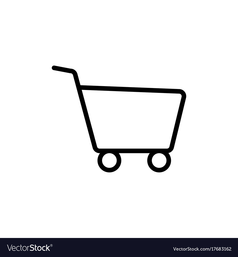 Line shopping card trolley icon