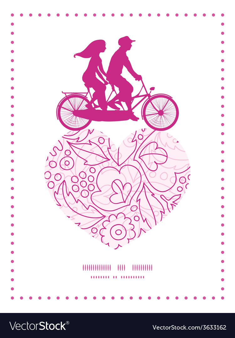 Pink flowers lineart couple on tandem bicycle vector image