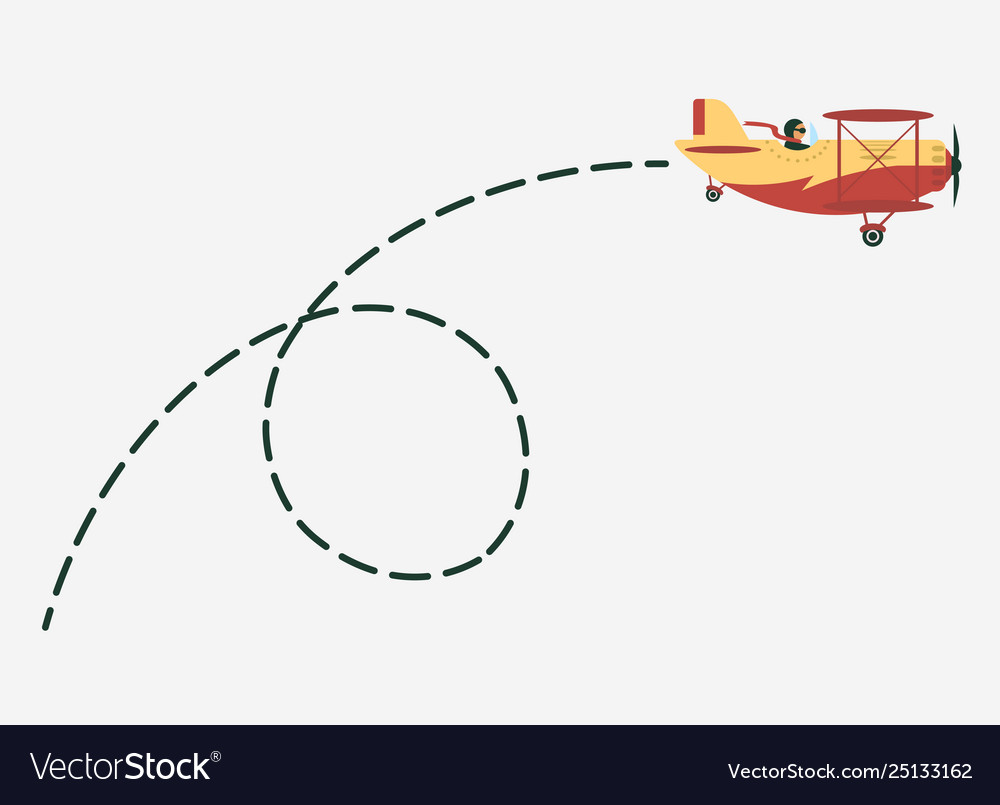 Plane with path movement airplane route