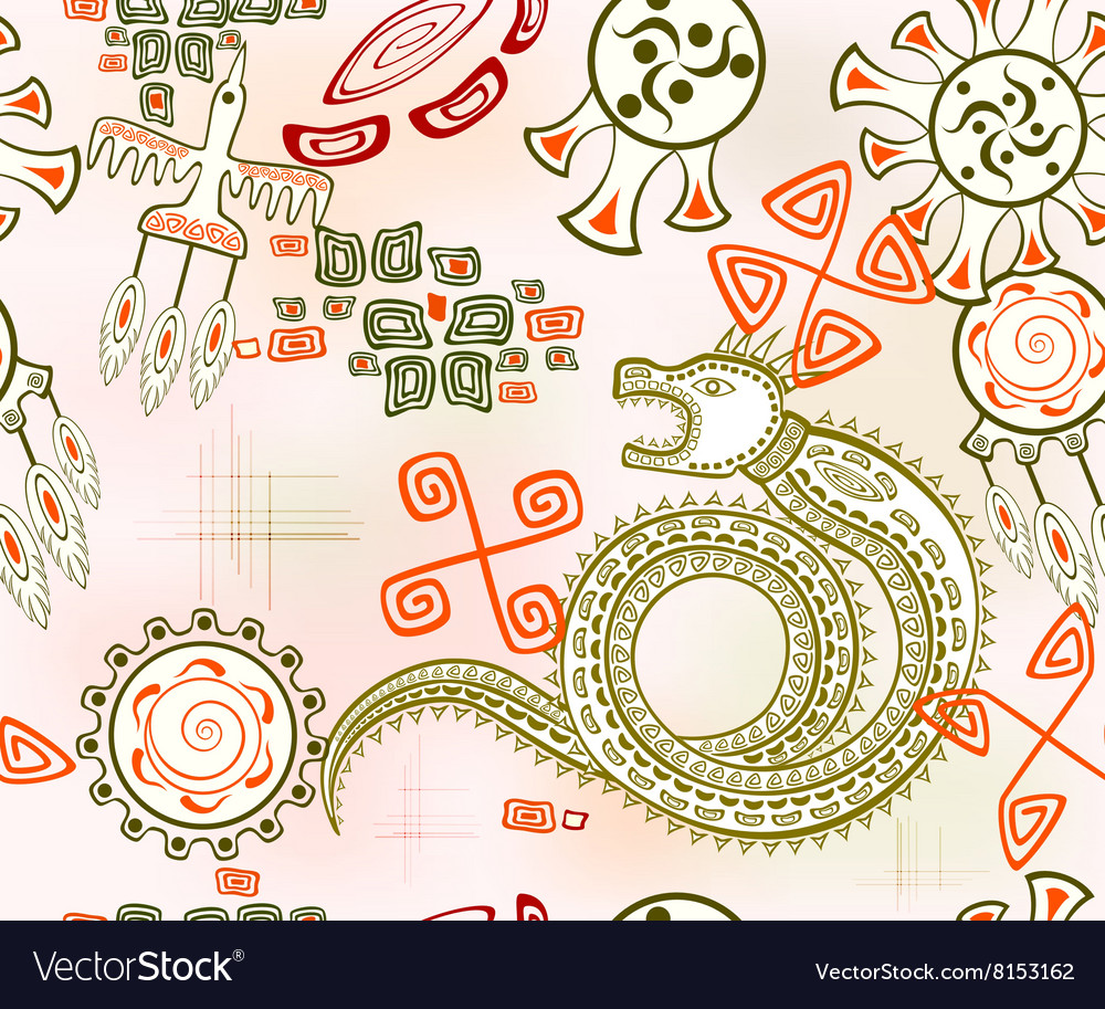 Seamless background with golden dragon EPS10 vector image