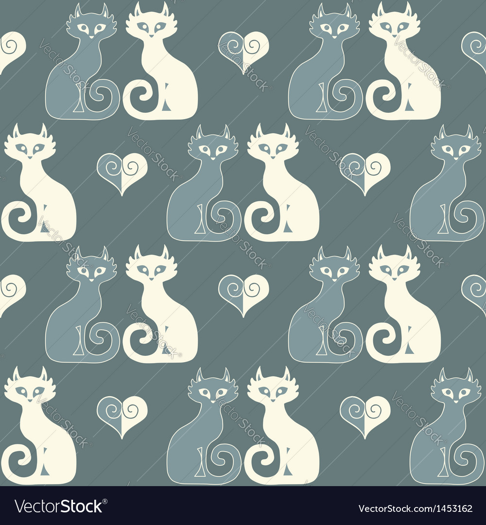 Seamless of a pair of cats and hearts