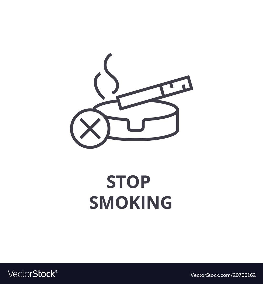 Stop smoking thin line icon sign symbol