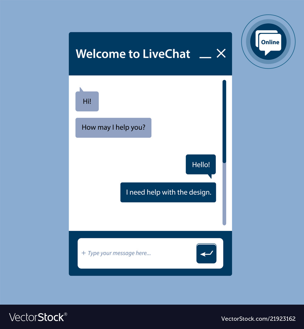 The live chat window for web pages in internet