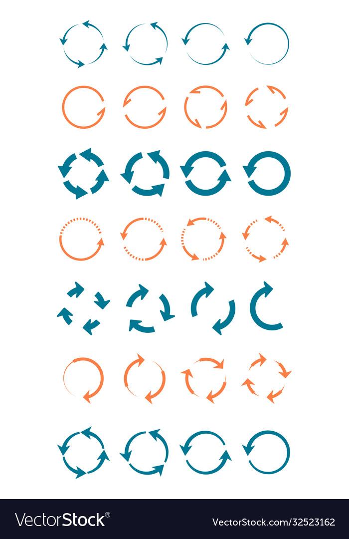 Whirlpools arrows circular large set blue