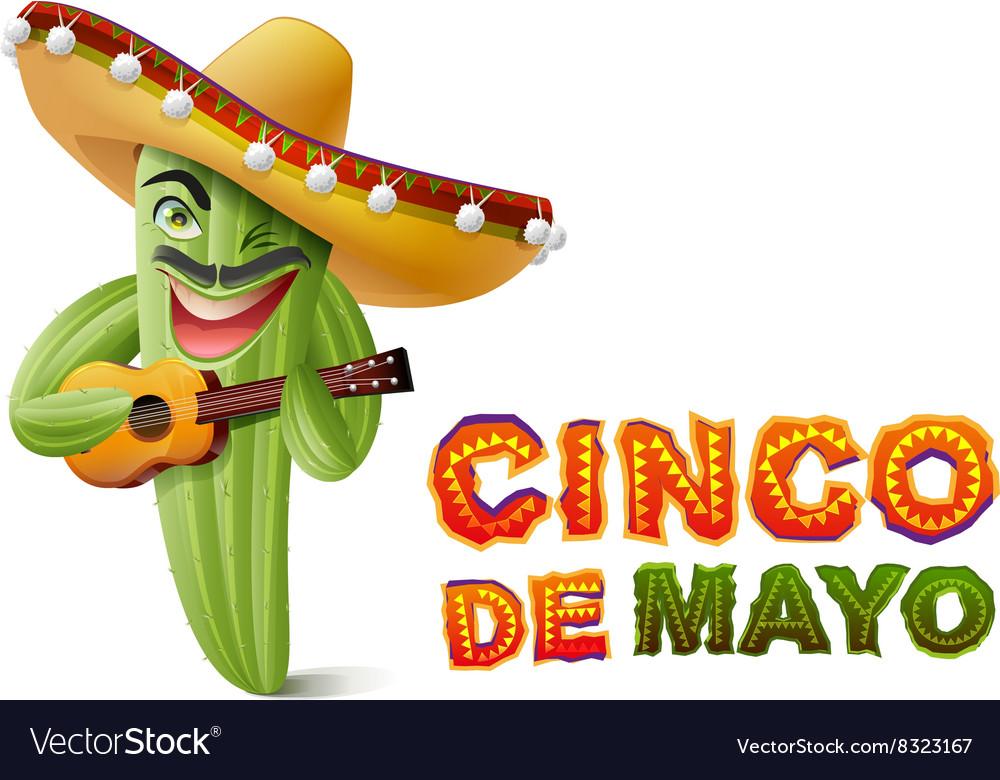 Cinco de Mayo Mexican cactus in sombrero playing vector image