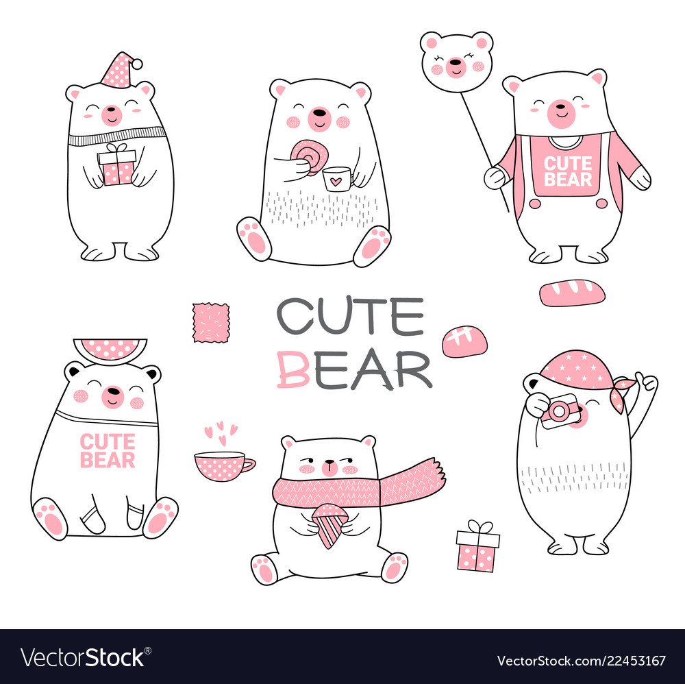 Cute baby bear cartoon hand drawn style