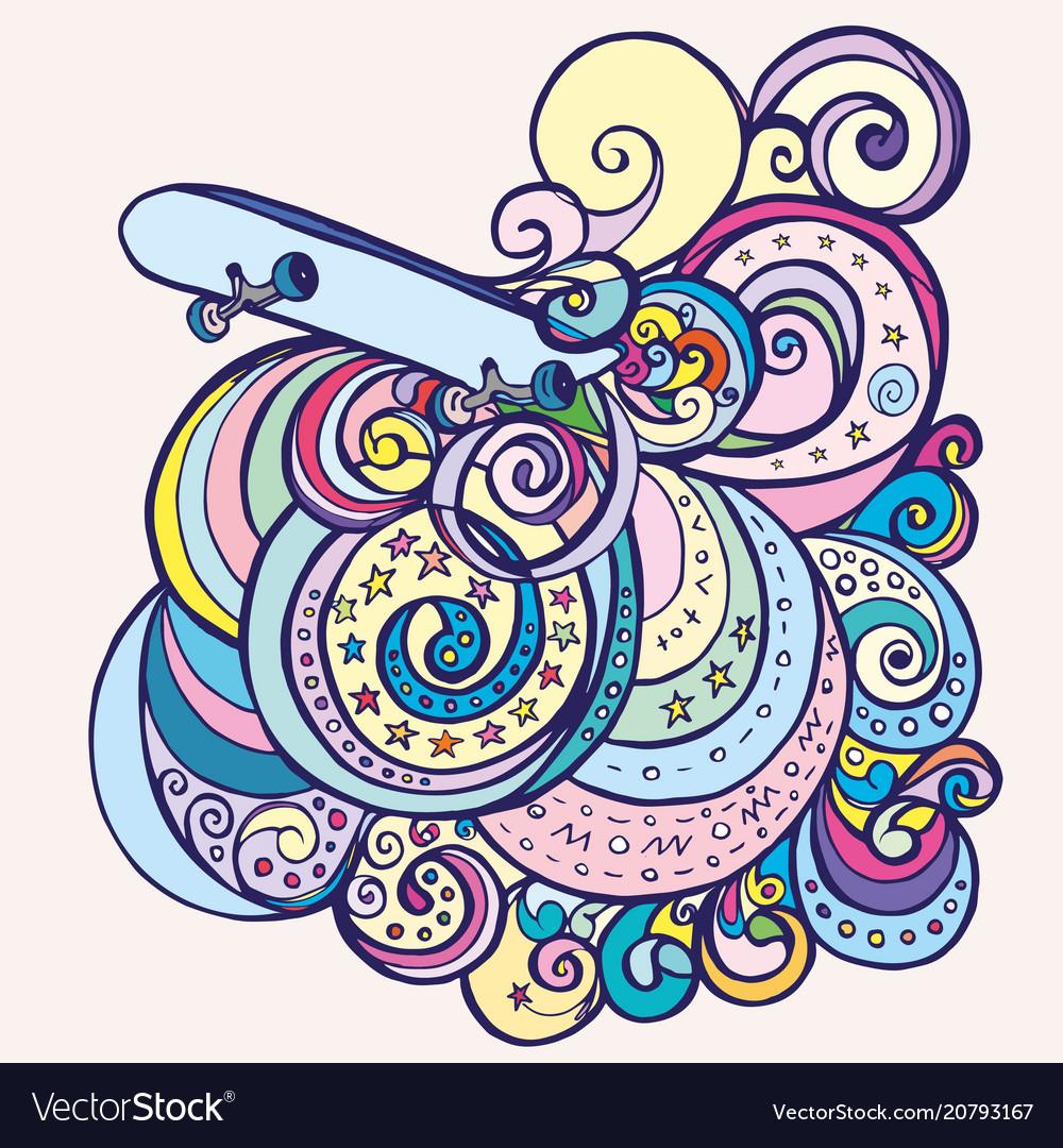 Doodle skateboard and wave patterns