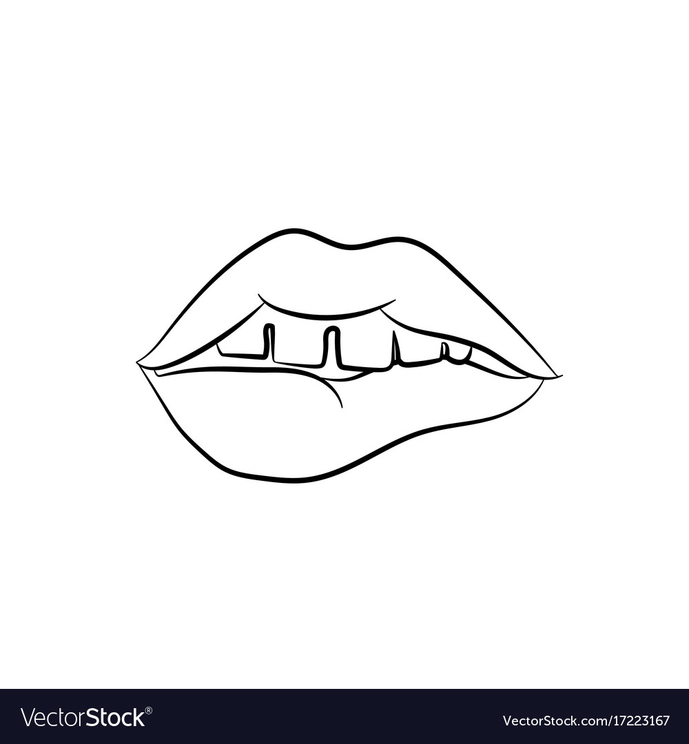 girls open mouth with lips biting womans teeth vector 17223167 girls open mouth with lips biting womans teeth vector image