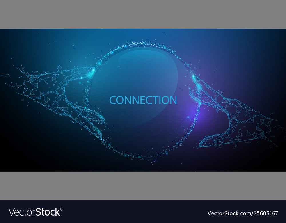 Hands touching global connection concept