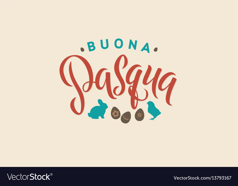 Happy easter italian calligraphy greeting card vector image m4hsunfo