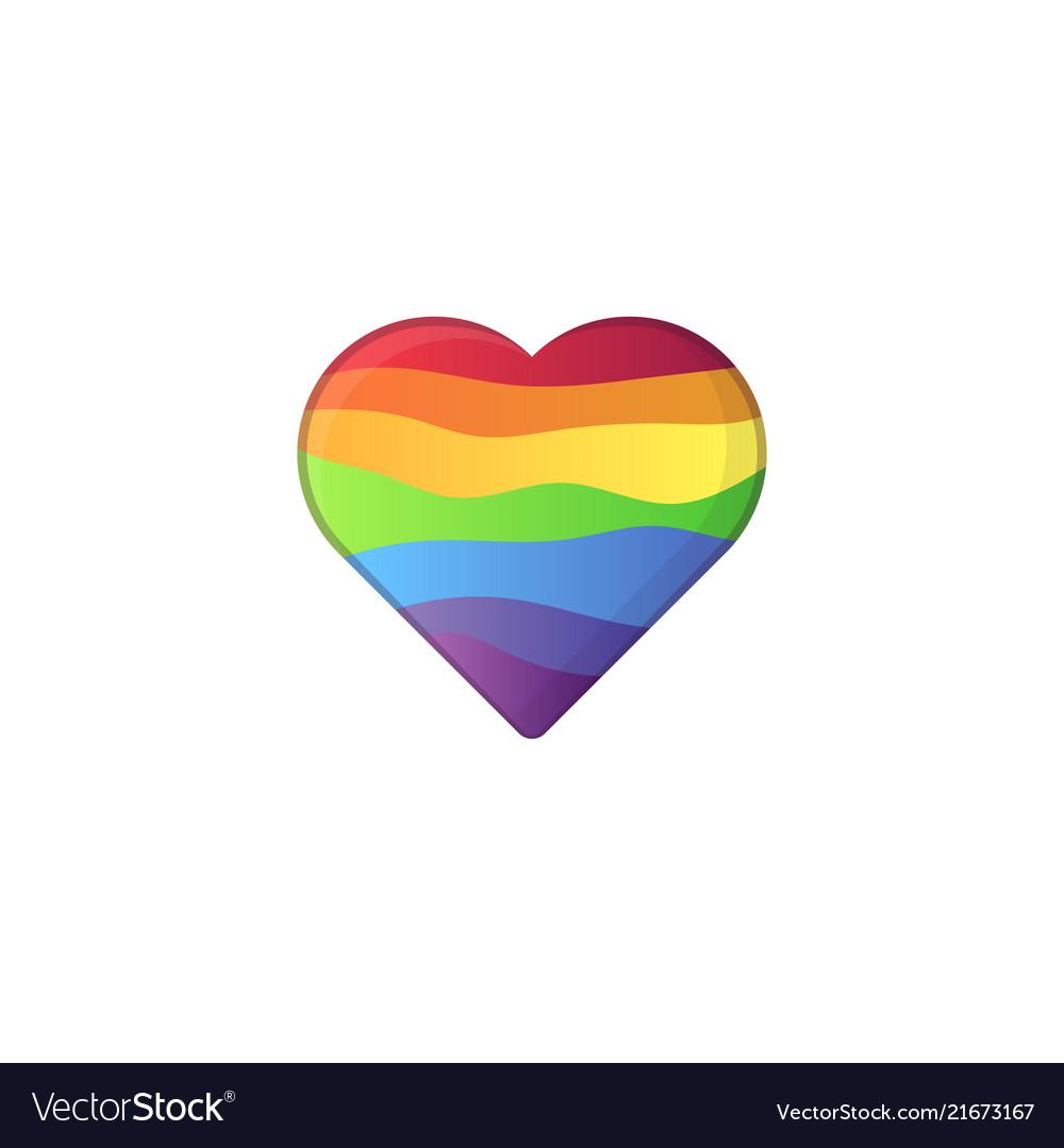 Heart shape in lgbt rainbow colors