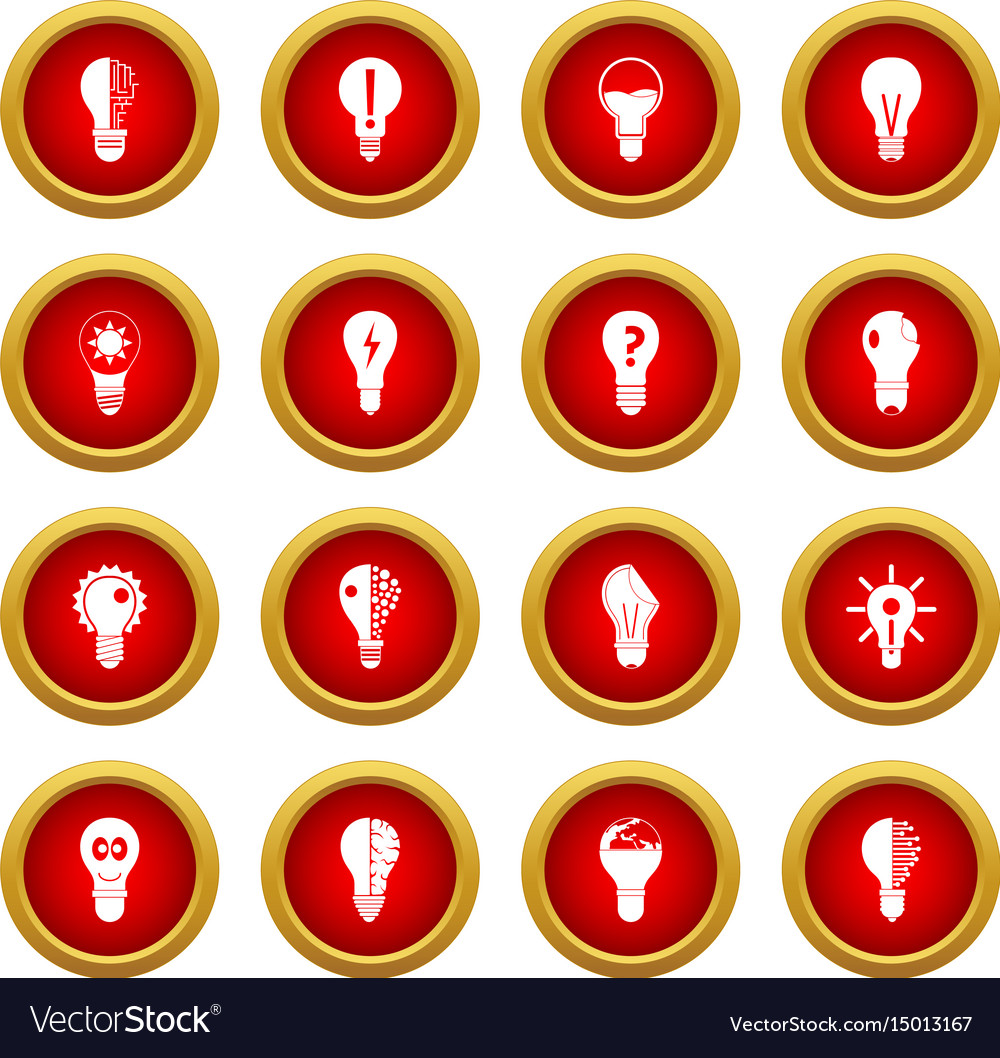 Lamp icon red circle set vector image