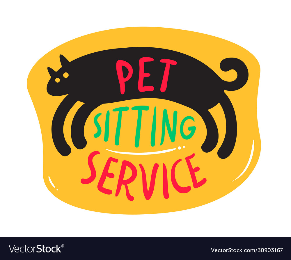 Pets Sitting Service Banner With Cute Black Kitten