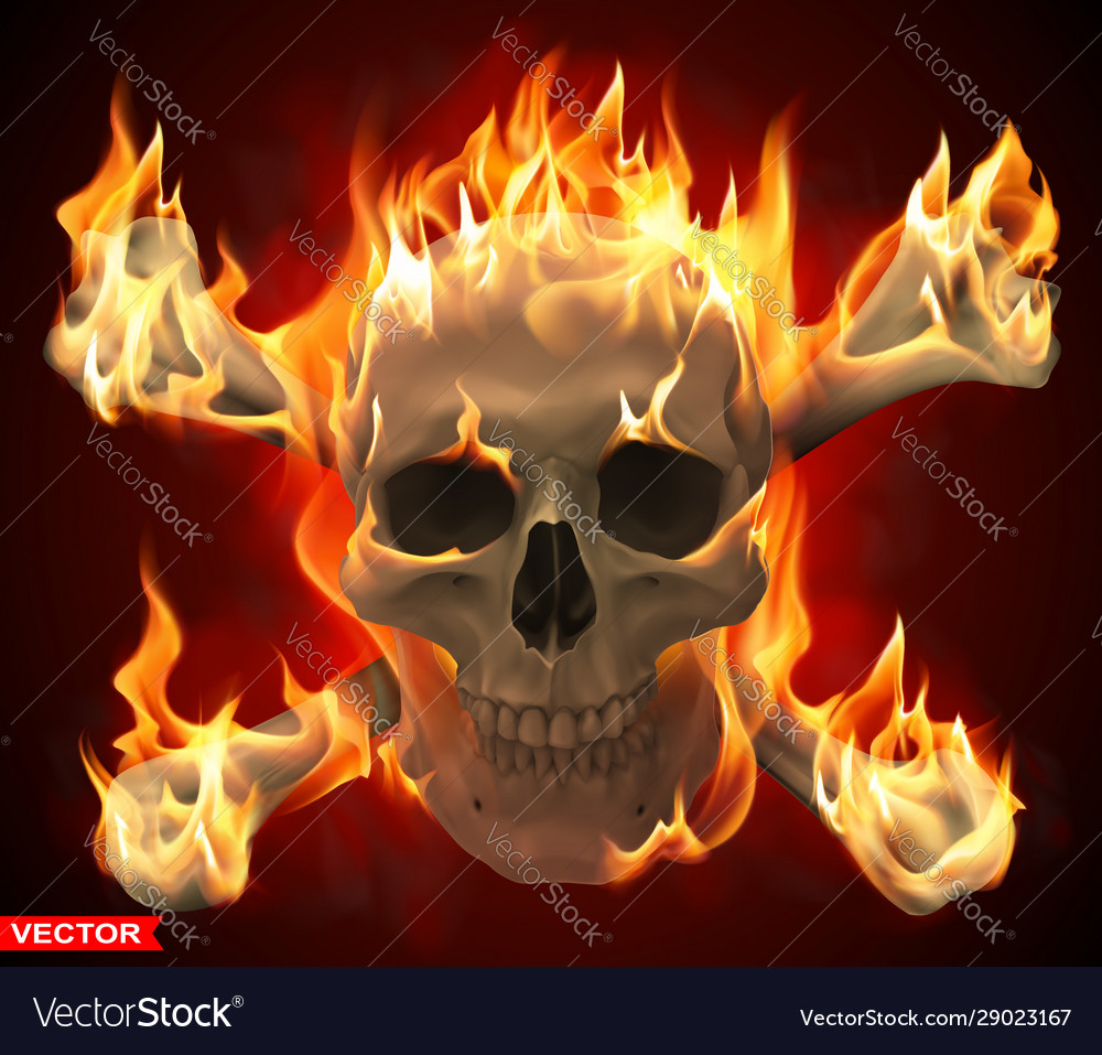 Realistic burning human skull with crossed bones