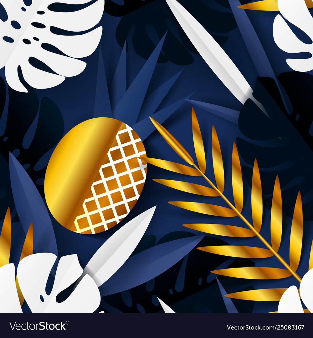 Seamless summer pattern with paper tropical leaves
