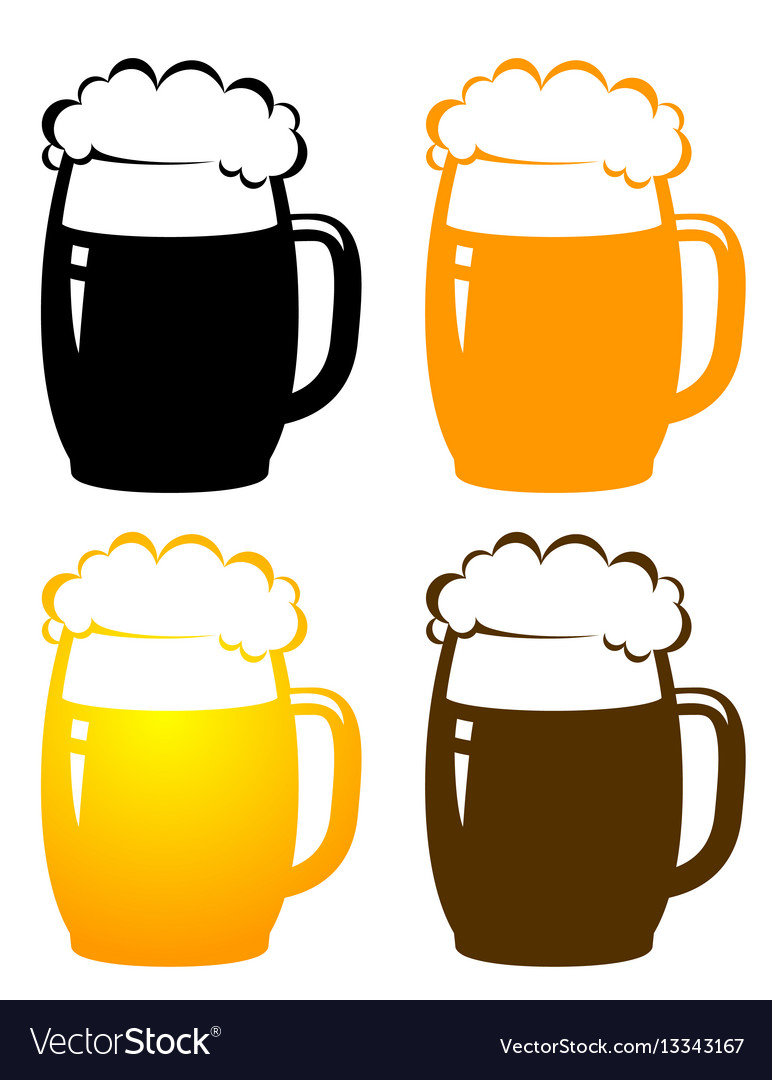Set with colorful beer mugs