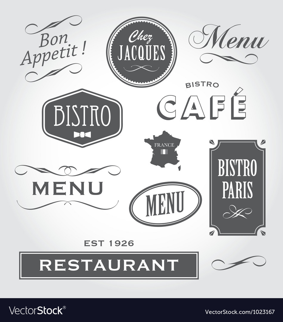 Vintage Signs French Restaurant Royalty Free Vector Image
