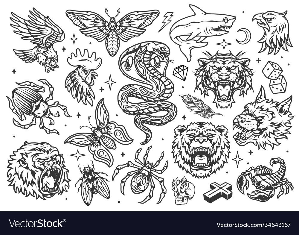 Vintage tattoos set vector