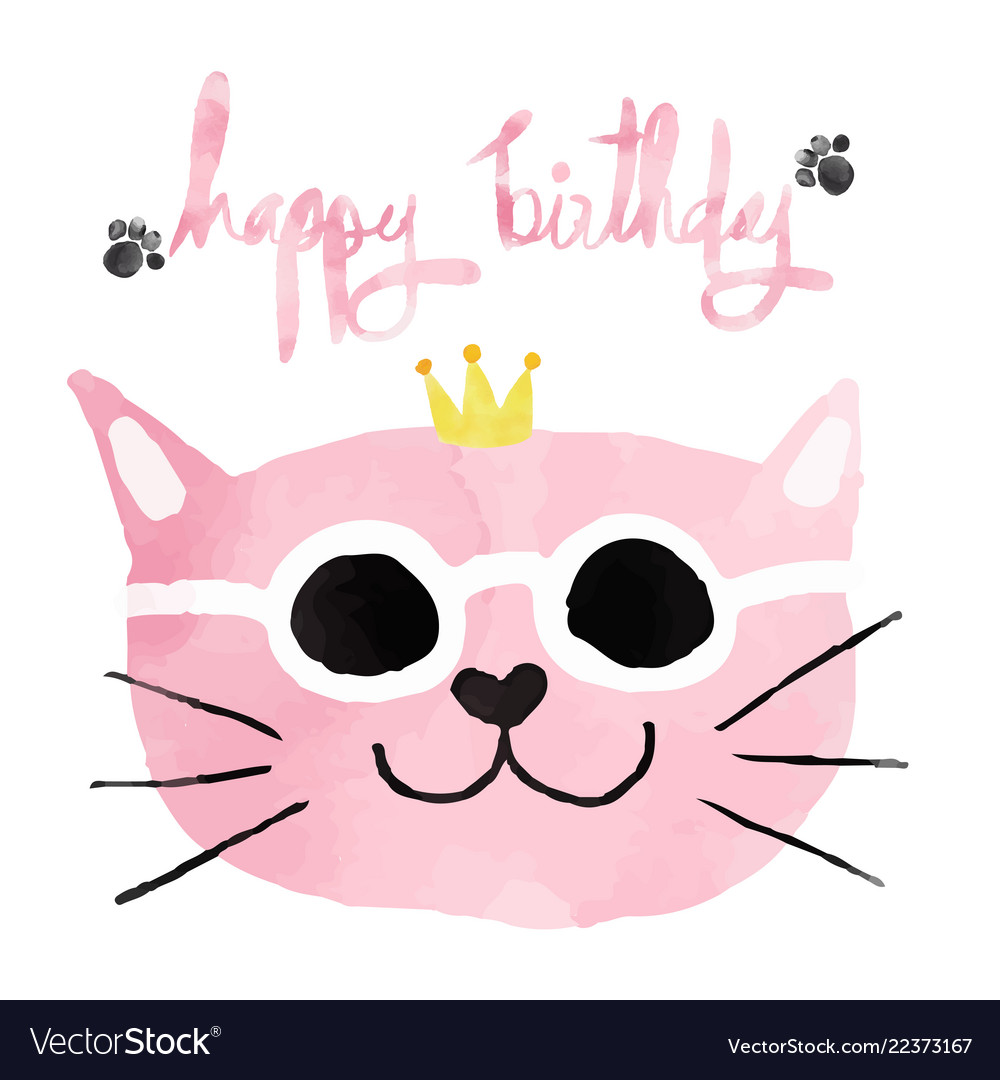 Watercolour pink funny cat with crown happy