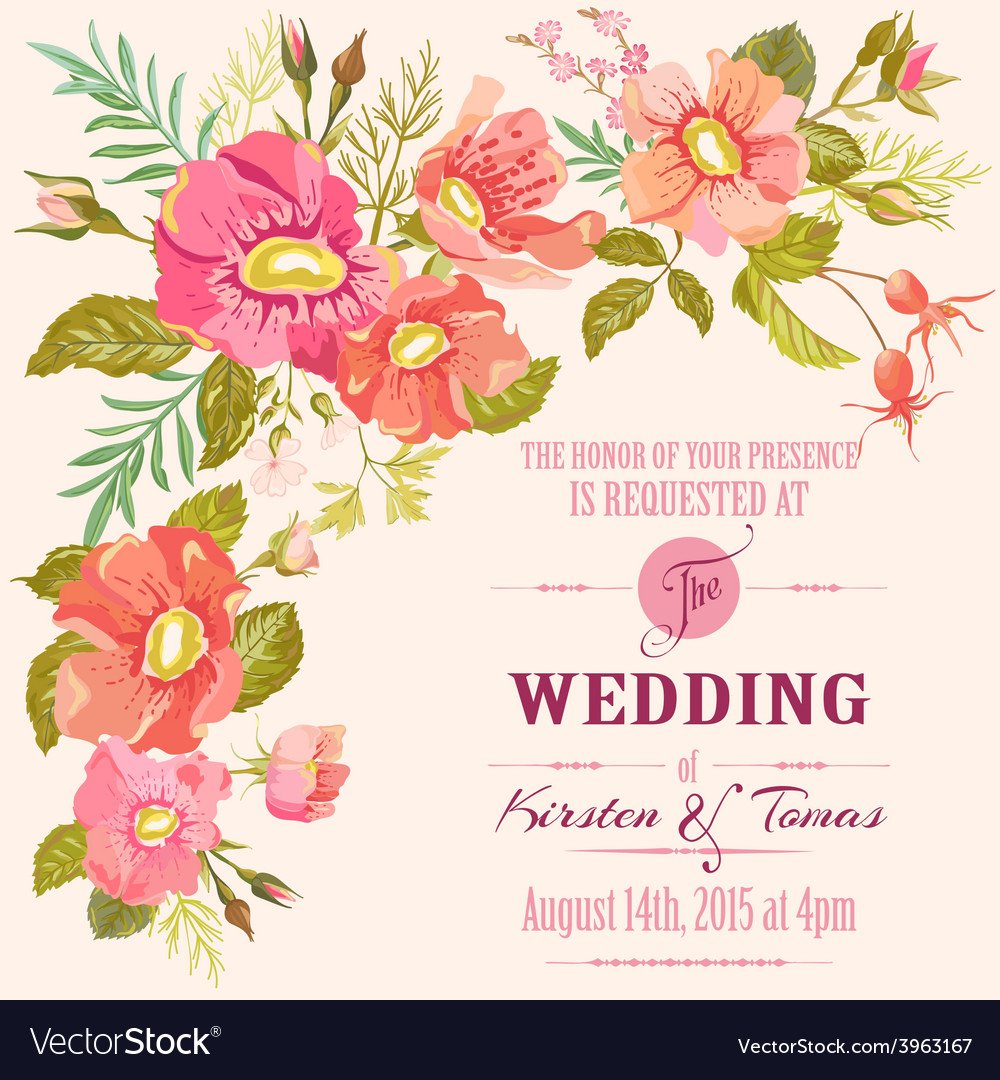 Wedding floral invitation card - save date