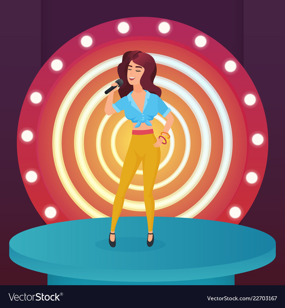 Woman singer star singing pop song with microphone