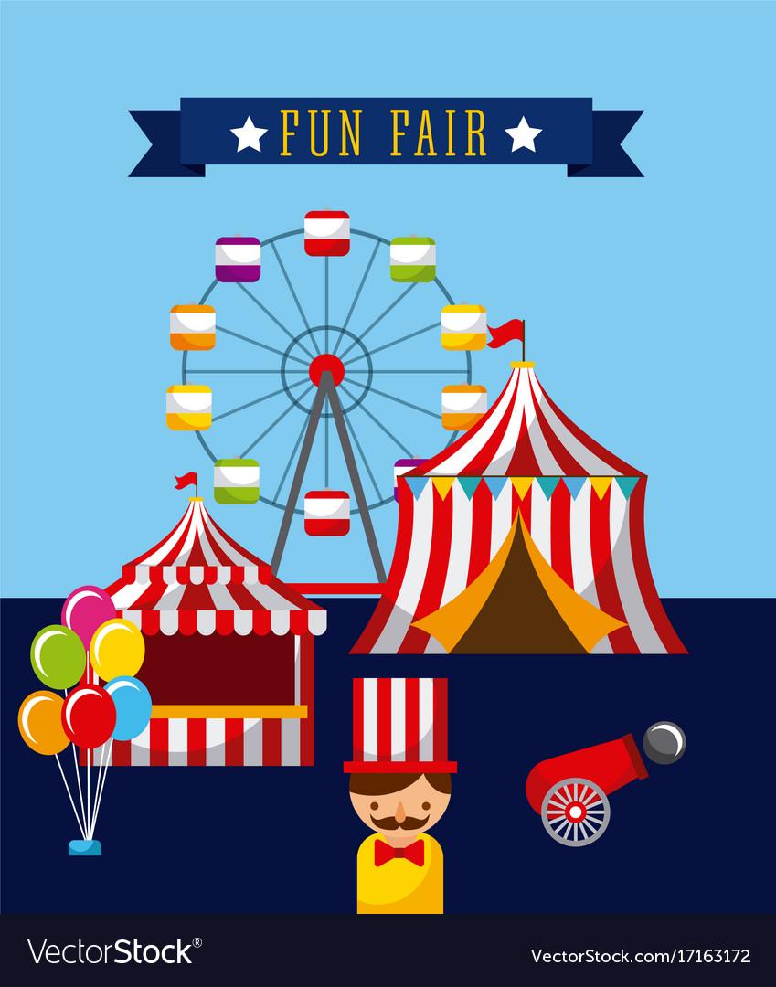 Amusement fun fair theme park poster template