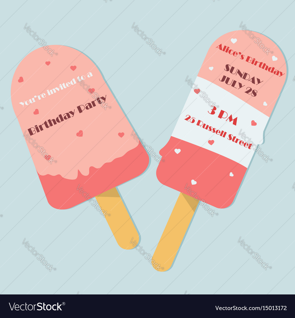 Birthday Invitation Template As Ice Cream Shape Vector Image
