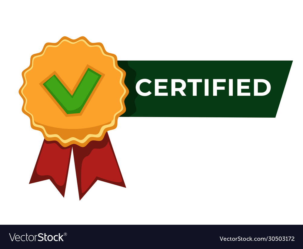 Certified label badge with checkmark and ribbon