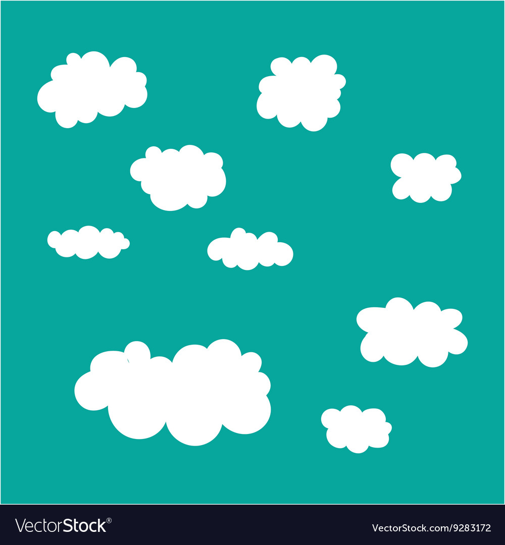 Cloud icons set on blue sky background