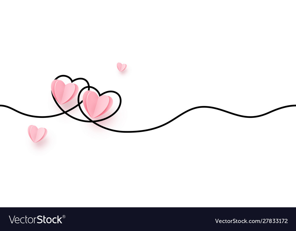 Continuous line heart shape border with realistic