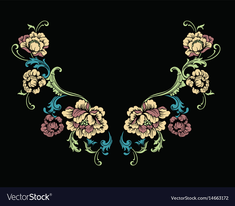 Floral neck embroidery design in baroque style