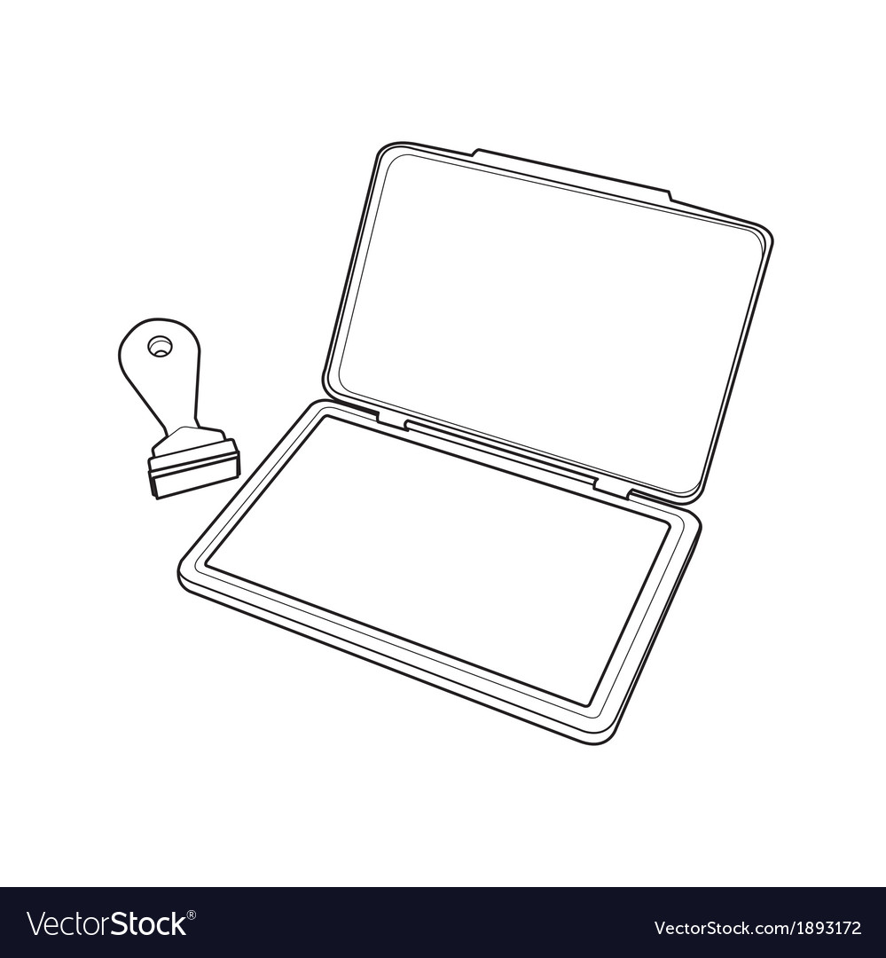Ink pad with rubber stamp outline vector image