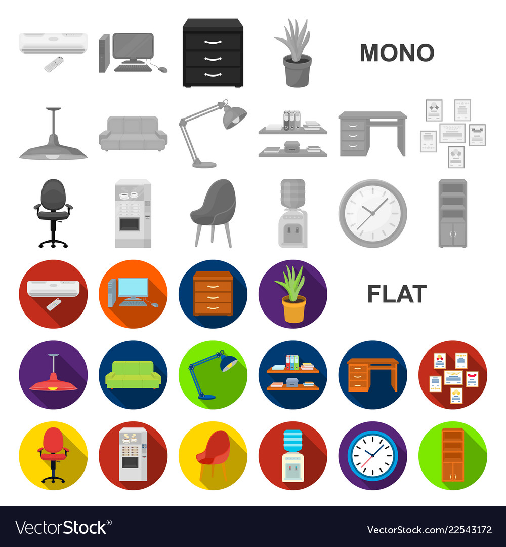 Interior of the workplace flat icons in set