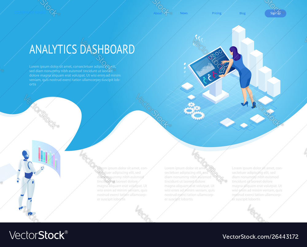 Isometric digital monitor with infographics