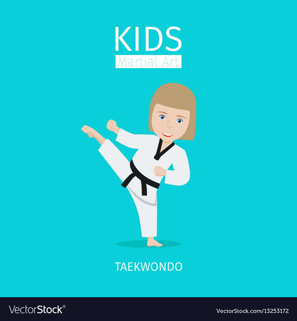 Kids martial art taekwondo girl vector image