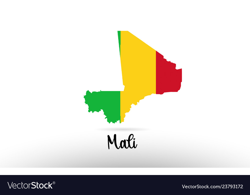 Mali Country Flag Inside Map Contour Design Icon Vector Image