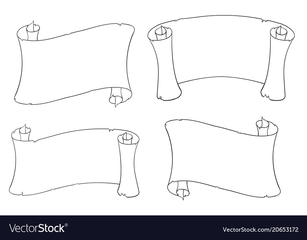 Paper scrolls outline drawing