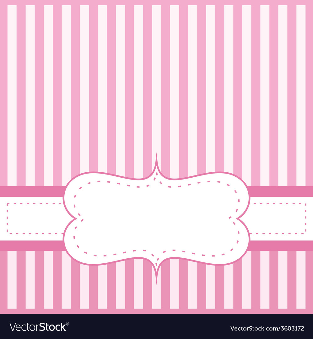 Pink card invitation with white stripes