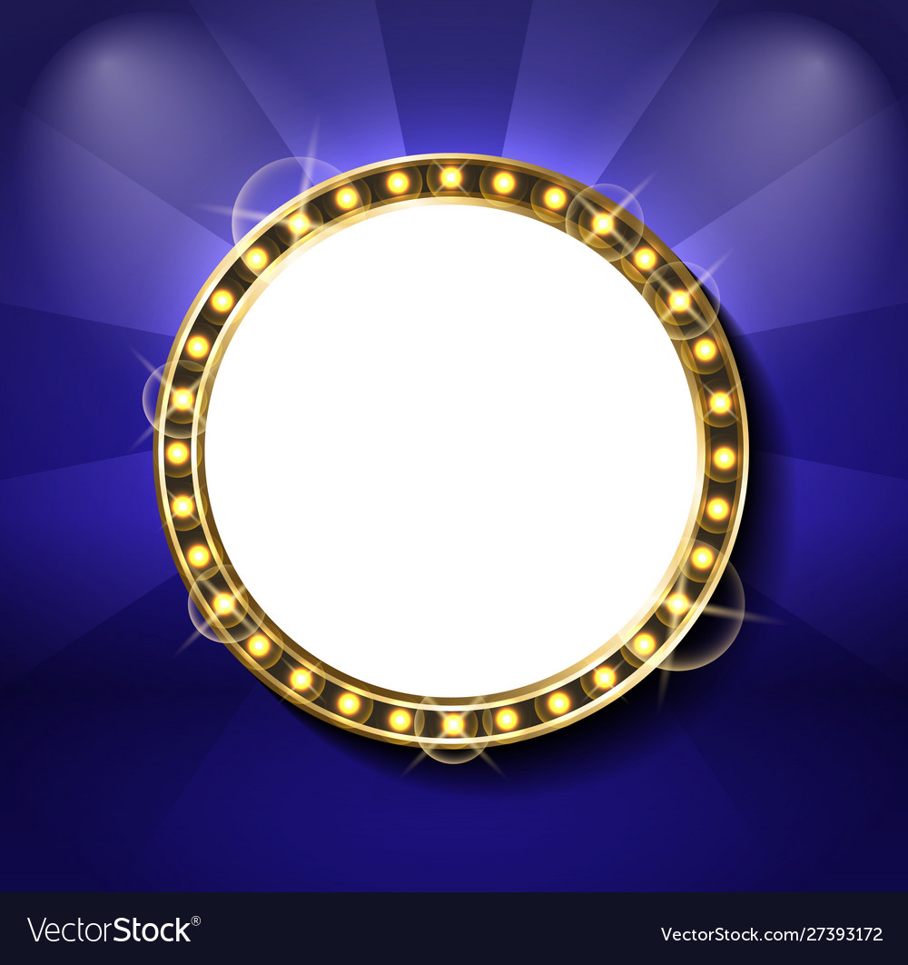 Round glittering frame with neon light bulb