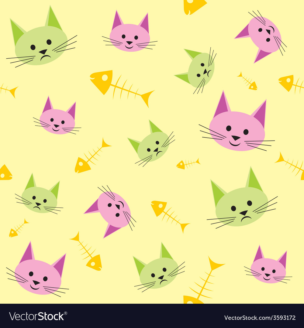 Seamless background with funny cats