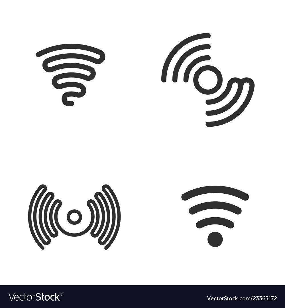 Set of wifi black icons