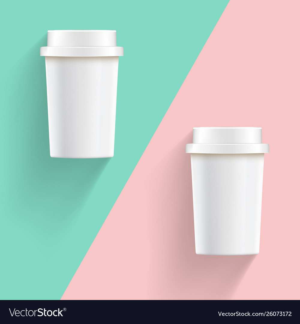 Vintage style white take away coffee cups on