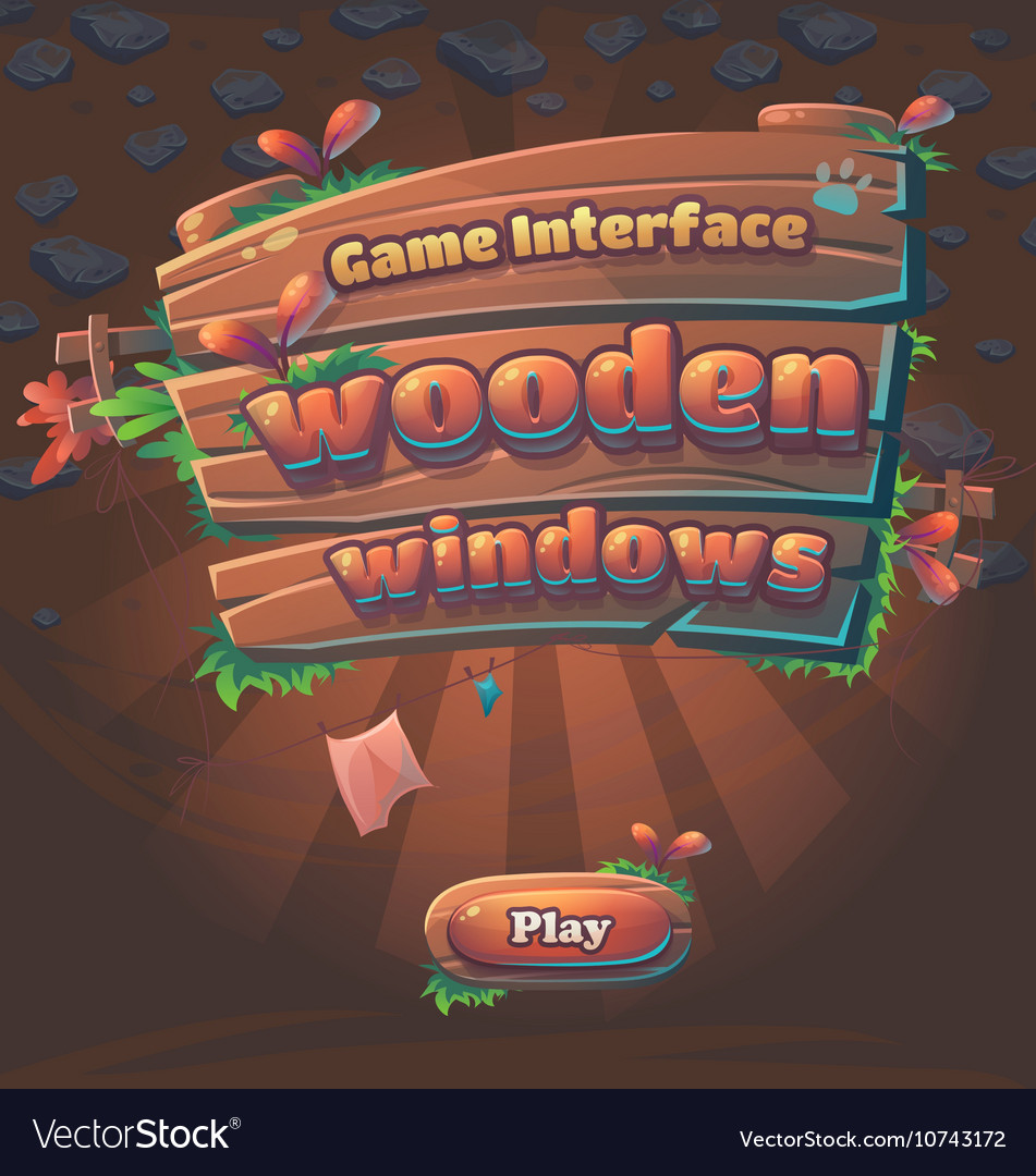 Wooden game user interface play window