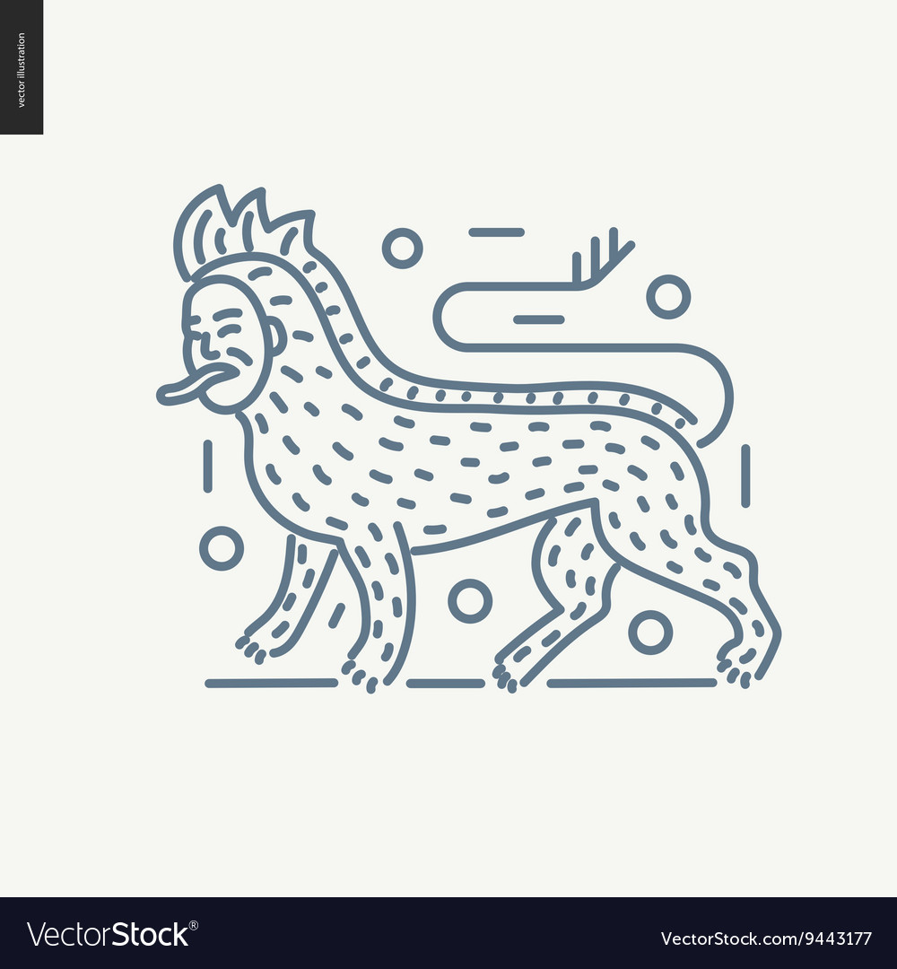 Bestiary outlined icon vector image