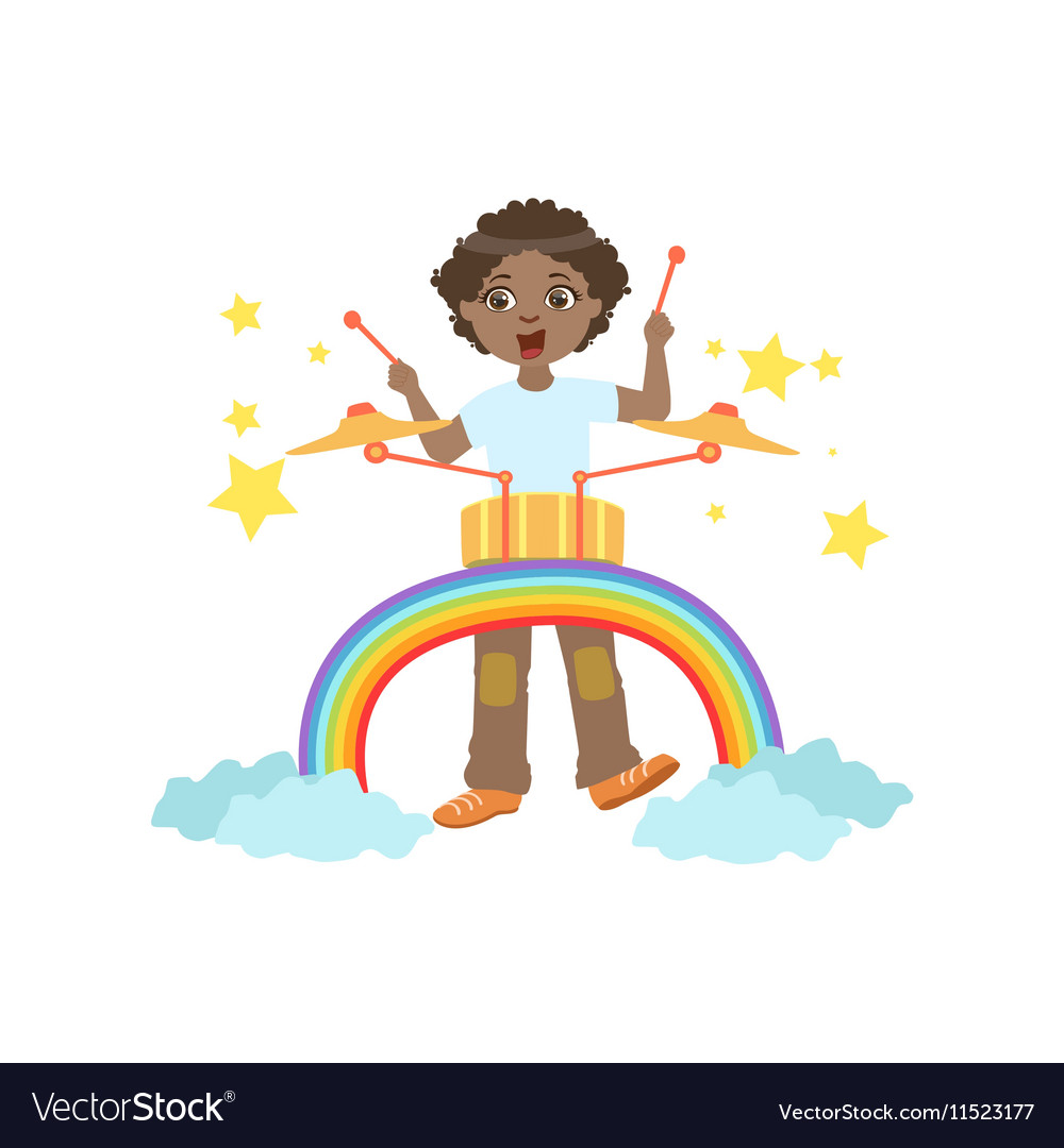Boy Playing Drums With Rainbow And Clouds