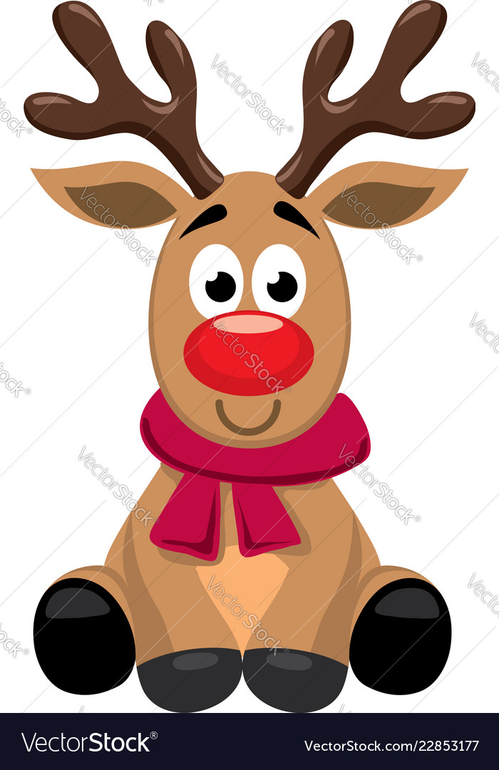 Cute cartoon red nosed reindeer toy rudolph