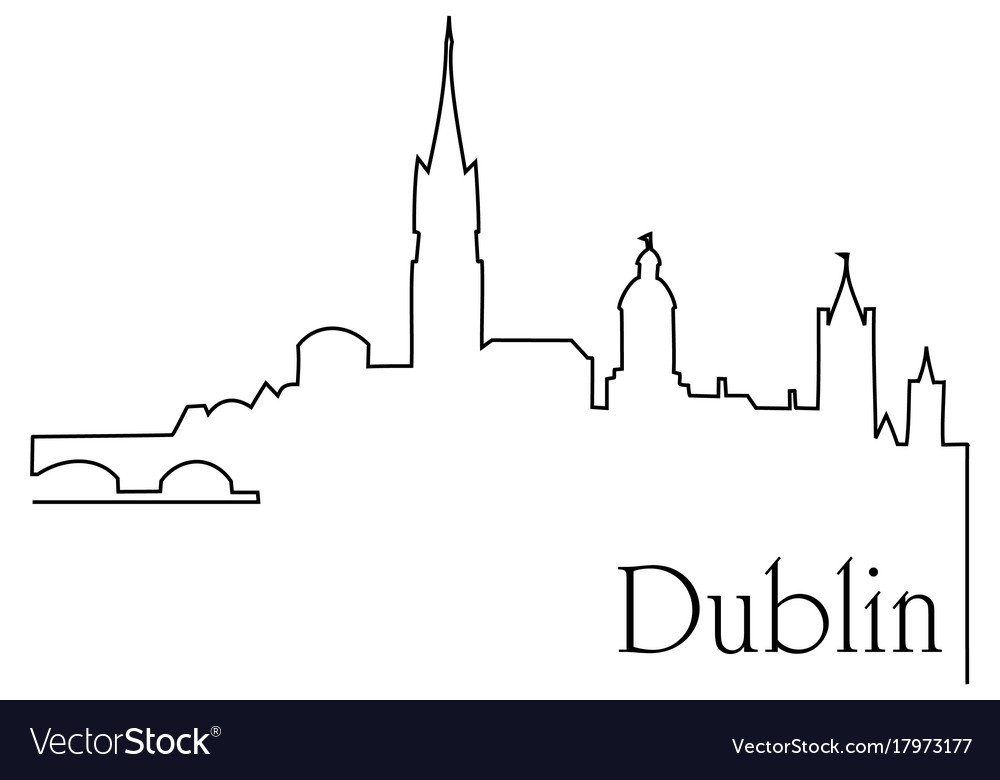 Dublin city one line drawing background
