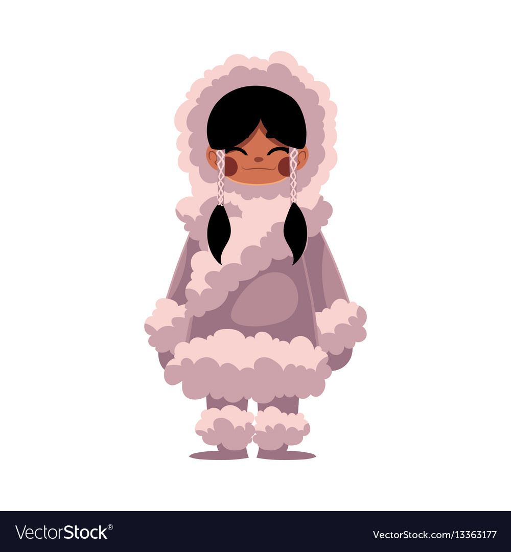 Eskimo inuit black haired girl in sheepskin warm