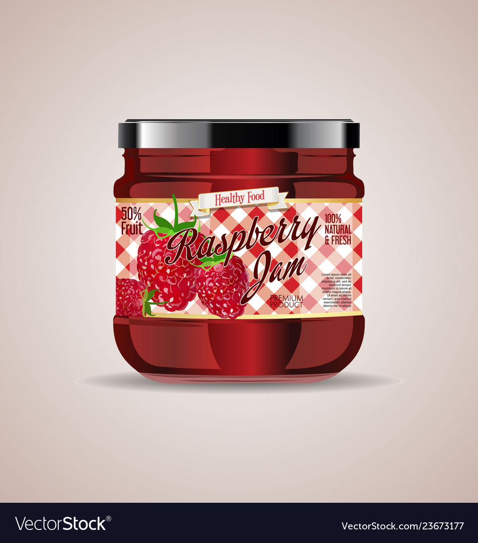Glass jar mockup raspberry package design 4
